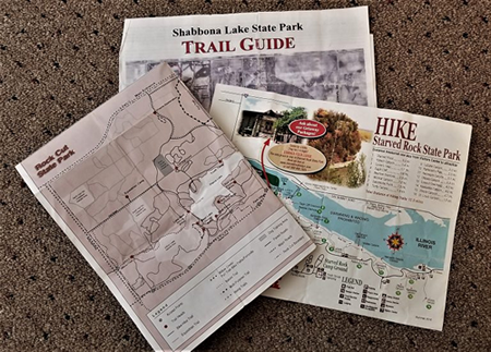 Campground and trail maps can be useful.